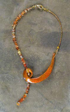 Copper Stone Swirl Necklace