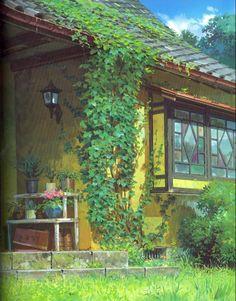 Background by Kazuo Oga, Arrietty - Studio Ghibli Secret World Of Arrietty, The Secret World, Studio Ghibli Art, Studio Ghibli Movies, Hayao Miyazaki, Fantasy Landscape, Landscape Art, Totoro, Anime Studio