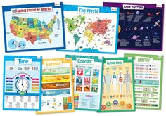 merka Educational Posters-Explorer Set-USA World Map, Human Body, Solar System, Calendar and Homeschool Supplies, Teacher Supplies, Classroom Supplies, Classroom Decor, Learning Tools, Kids Learning, Early Learning, Learning Activities, World Map Poster