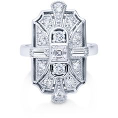 BERRICLE Sterling Silver CZ Art Deco Ring ($57) ❤ liked on Polyvore featuring jewelry, rings, clear, temporary 1, women's accessories, cz engagement rings, cz wedding rings, sterling silver band rings, sterling silver rings and wedding rings