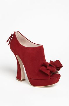 <3Miu Miu Suede Peep Toe Bow Ankle Platform Shootie #Boots