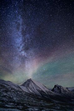 light sky landscape upload night galaxy stars northern lights mountains norway milky way arctic aurora borealis vertical fjord nord tromvik Nordge Beautiful Sky, Beautiful World, Beautiful Pictures, Beautiful Norway, Sky Full Of Stars, Tumblr Wallpaper, Science And Nature, Nature Nature, Lock Screen Wallpaper