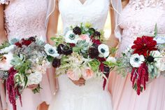 Pink + Red + Succulents + Anemone Bouquet... Kind of different... Like 'em! See the wedding on Style Me Pretty:  http://www.StyleMePretty.com/2014/02/11/winchester-country-club-wedding/  Kori & Jared Photography