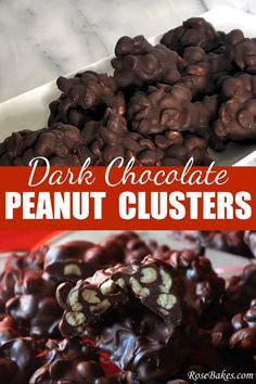 Super easy Dark Chocolate Peanut Clusters with just 3 ingredients! #candy #christmascandy #dessert #recipe