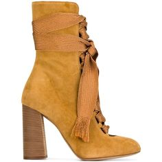Chloé 'Harper' ankle boots (5.585 RON) ❤ liked on Polyvore featuring shoes, boots, ankle booties, booties, обувь, brown, brown fringe booties, brown fringe boots, fringe booties and fringe ankle boots