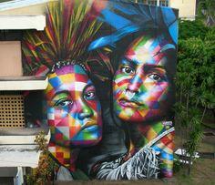 """Mural """"Nativas"""", recém-grafitado pelo brasileiro Eduardo Kobra no Taiti"""