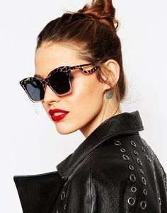 ASOS | ASOS Square Cat Eye Sunglasses In CP With Drop Arm at ASOS