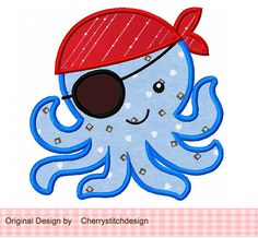 Octopus Pirate Digital Applique -4x4 5x7 6x10-Machine Embroidery Applique Design, $2.99