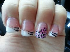Pink and White Nails with a design