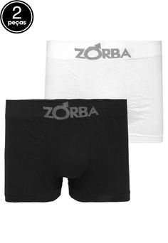 8995d0689 Kit 2pçs Cuecas Zorba Boxer Logo Branco Preto