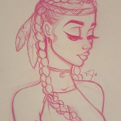 Native American, cute, simple drawing from Christina Lorre tattoo girl drawing Pretty Drawings, Amazing Drawings, Easy Drawings, Simple Pencil Drawings, Simple Cute Drawings, Amazing Art, Drawing Sketches, Art Sketches, Drawing Ideas