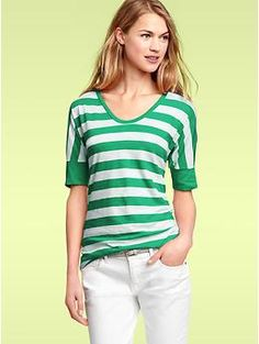 just bought this shirt in kelly green/white and coral/white stripes at Gap...so cute + comfy!