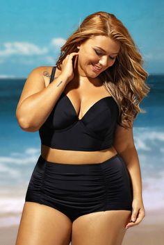 Black Seamed Bikini Top Ruched High Waist Plus Size Swimwear
