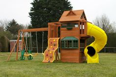 House with slides for backyard playground design plans