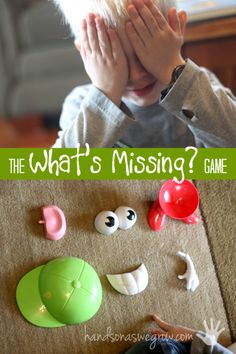 """What's Missing?"" Memory Activity for Kids What's Missing? A memory activity to boost kids minds. Love the idea of using Potato Head parts!What's Missing? A memory activity to boost kids minds. Love the idea of using Potato Head parts! Cognitive Activities, Educational Activities, Learning Activities, Educational Websites, Hands On Activities, Circle Time Games, Circle Time Activities, Toddler Activities, Preschool Activities"