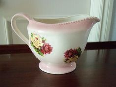 Vintage Cottage Style- Pink Ceramic Pitcher with Yellow and Pink Roses, 6 1/2""