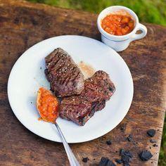 Steak mit Tomaten-Pfirsich-Salsa Rezept | Küchengötter