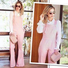 Sobreposição  rosa pastel no combo de hits escolhido por minha Fhits power blonde @helena_lunardelli com camisa de babados e macacão total @lumonteiroloja. Amei!  #FhitsTeam #FhitsTips