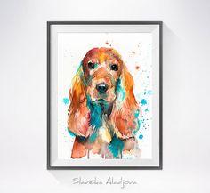 English Cocker Spaniel watercolor painting print, English Cocker Spaniel art, animal watercolor, animal portrait, dog art, dog print by SlaviART on Etsy https://www.etsy.com/listing/280974476/english-cocker-spaniel-watercolor