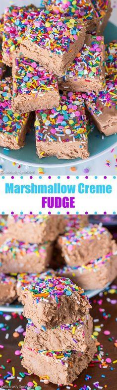 Marshmallow Creme Fudge #christmascookies #christmasdesserts #christmasrecipes #holidayrecipes #holidaybaking #newyearseveparty #thanksgivingrecipes #thanksgivingdessert #dessertrecipes