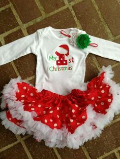 My first Christmas outfit with long sleeve bodysuit, matching headband, and matching red with white polka dot petti skirt! Customizable outfits for Christmas for kids