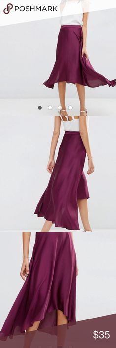Asos purple silk skirt NWT silky eggplant colored asymmetrical skirt size 6 US Zara Skirts High Low