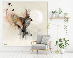 Art Prints and Original illustrations by lizkapiloto on Etsy Large Canvas Art, Canvas Wall Art, Wall Art Prints, Bird Artwork, Watercolor Artwork, Modern Wall Decor, Modern Art, Extra Large Wall Art, Office Wall Art