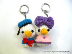 Donald and Daisy Duck Amigurumi Keychains by AnyaZoe Donald And Daisy Duck, Crochet Disney, Disney Duck, Crochet Keychain, Crochet Animals, Key Chains, Minis, Miniatures, Patterns