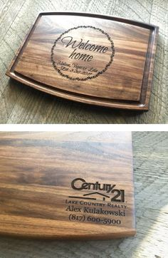Realtor closing gift or housewarming gift - Personalized cutting board with office logo and information on back