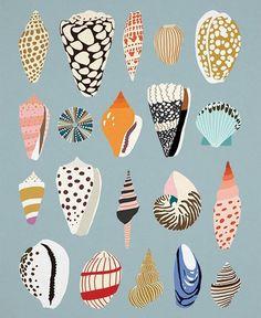 Love this print by @kajsaklaesen ! Beautiful color palette 🐚