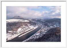 Saxony Framed Print featuring the photograph Elbe Valley With Mountain Pfaffenstein by Jenny Rainbow Art Prints For Home, Time Art, Frame Shop, Hanging Wire, Natural Wonders, Wood Print, Art Techniques, Fine Art Photography, Christmas Time