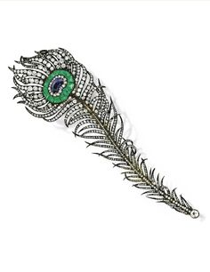 From the Collection of Mrs. Charles Wrightsman -  Silver-Topped-Gold, Sapphire, Emerald and Diamond 'Peacock Feather' Brooch, Circa 1860 - Designed as a fanciful peacock feather, the eye centered by a fancy-cut sapphire, bordered by 15 calibré-cut emeralds, the intertwined and curled plumes set with numerous old mine, old European and rose-cut diamonds weighing approximately 17.50 carats, length 5¾ inches, with French import marks.