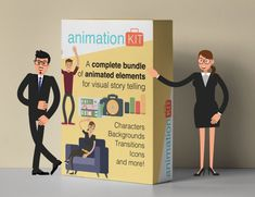 Animation KIT is a complete collection of animated elements such as animated characters, backgrounds, icons, transitions, and a lot Marketing Software, Internet Marketing, Easy Sketch Pro, Create Animated Gif, Corporate Presentation, Create Animation, Video Advertising, Cartoon Design, All Video