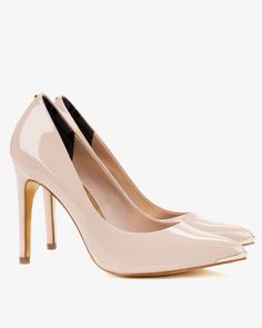 Patent pointed court shoes - Nude Pink | Footwear | Ted Baker UK