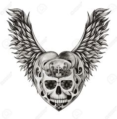 Skull with wings in a heart