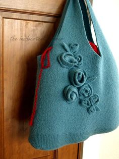 Felted Sweater Bag out of a repurposed wool sweater from the thrift store.