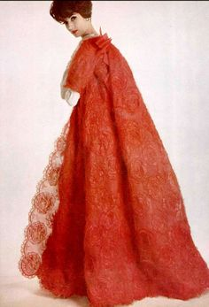 e450f1583a9e1 1961 Simone d Aillencourt in red lace evening coat by Lanvin-Castillo