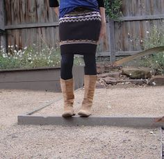 Recycled Fashion: Refashioned Sweater Skirt and Legwarmers