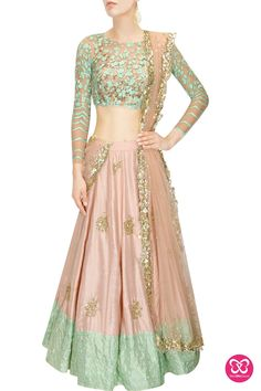 Astha Narang presents Peach moti work and sequins embroidered lehenga set available only at Pernia's Pop Up Shop. Indian Wedding Outfits, Pakistani Outfits, Indian Outfits, Pakistani Clothing, Bridal Outfits, Wedding Dress, Sangeet Outfit, Indian Lehenga, Blue Lehenga
