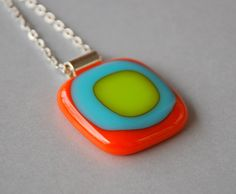 Fused Glass Pendant with Necklace in Orange Lime by pennyglassgirl, $26.00