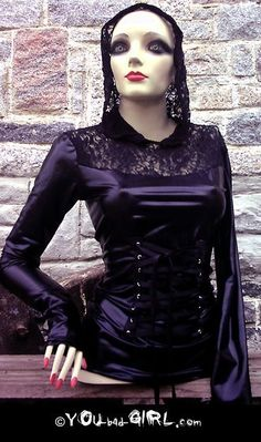 Steampunk SHINY diy HOODIE top blouse by You bad Girl.  This, um, mannequin is, um, kind of spooky.