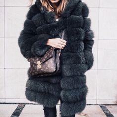faux fur with LV handbag