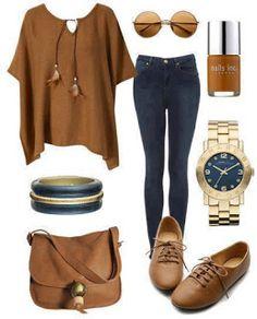 Conjunto en marrón y azul...genial!!!