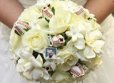 Baseball Wedding bouquet with a picture of my dad who passed 3months before wedding