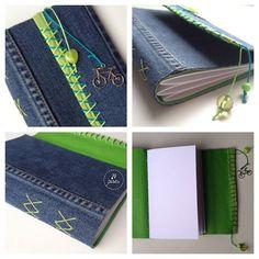 Fiz um caderno com pedaços da minha calça jeans velha. Costura Diamond. :) A  recycled notebook, with my old jeans. #bookbinding #recycle #tepires #diamondbinding