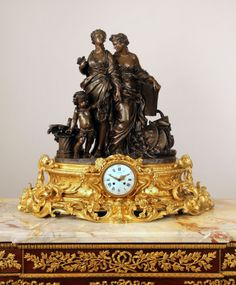 An Exceptional and Very Fine Late 19th Century Gilt and Patinated Bronze Figural Mantle Clock By Jean-François and Guillaume Denière