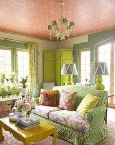 what a happy room! interior design by John Loecke happy room Cottage Living, Home And Living, Small Living, Happy Room, Sweet Home, Green Rooms, Green Walls, Home And Deco, My Dream Home