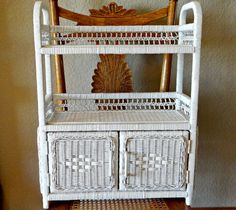 Vintage White Wicker Wall Shelf w/Two Shelves and Storage Compartment w/Two Doors by TimelessTreasuresbyM on Etsy