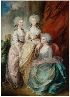 The Three Eldest Daughers of George III: Princesses Charlotte Augusta Matilda, Augusta Sophia, and Elizabeth (after Thomas Gainsborough), late 18th century.