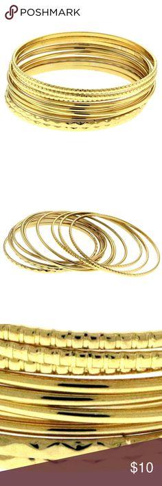 Gold-Tone 10 Piece Bangle Bracelet Set For Women Gold-Tone 10 Piece Bangle Bracelet Set For Women TMB337 Mi Amore Jewelry Bracelets